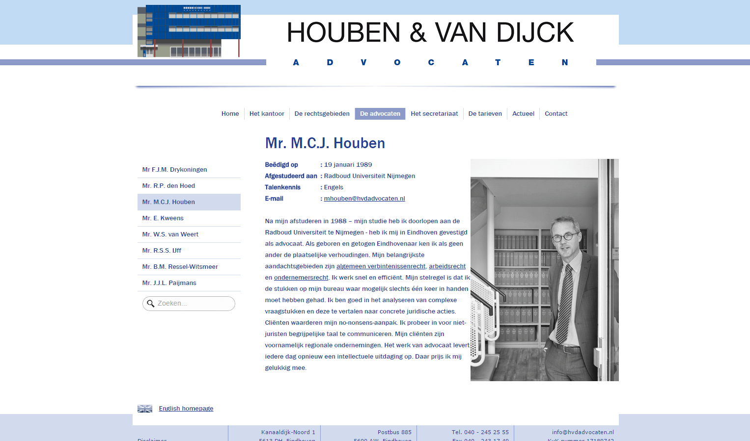 Houben & van Dijck Advocaten website